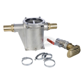 The metallic water filter kit includes the metallic cooling water filter strainer built in on brass, the sea water cock and the brackets for connection of the parts.