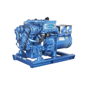 The G-8M-3 is a single phase marine generator set assembled on a 2 cylinder Mitsubishi engine block that performs 8,0 kW - 8,0 kVA at 3000 rpm and 50 Hz.