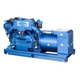The G-15T-3 is a three phases compact size marine generator assembled on a 3 cylinder Mitsubishi engine block.