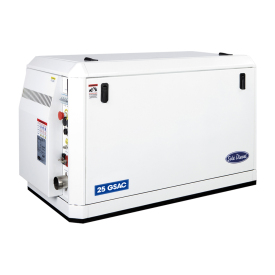 The 25 GSA/GSAC marine generator set is assembled on a 4-cylinder Mitsubishi engine block that performs a mono phase 25.1 kW-25.1 kVA power at 1 800 RPM and 60 Hz.